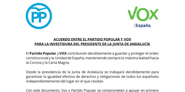 Acuerdo entre PP y Vox.
