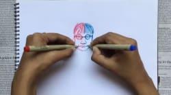 Cette artiste ambidextre dessine des deux mains en même