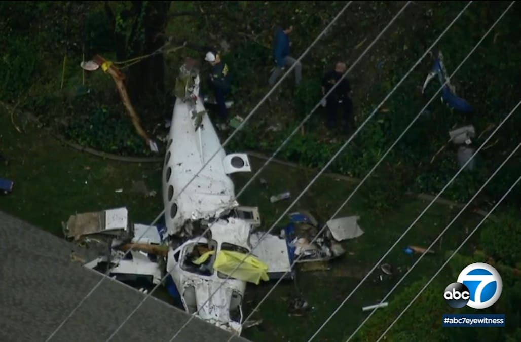 Plane breaks apart over California neighborhood, 5 killed