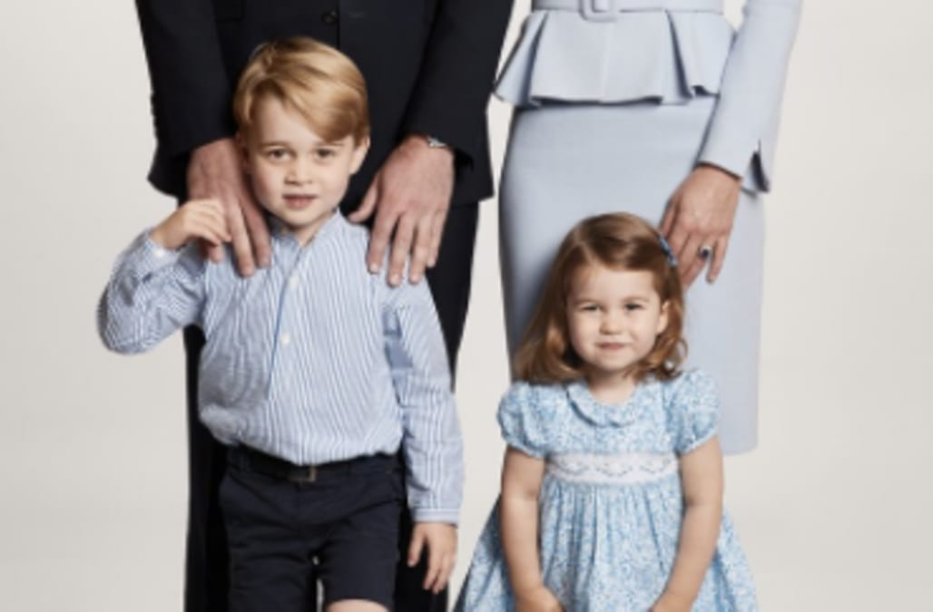 prince george and princess charlotte rock adorable color coordinated outfits for their christmas card