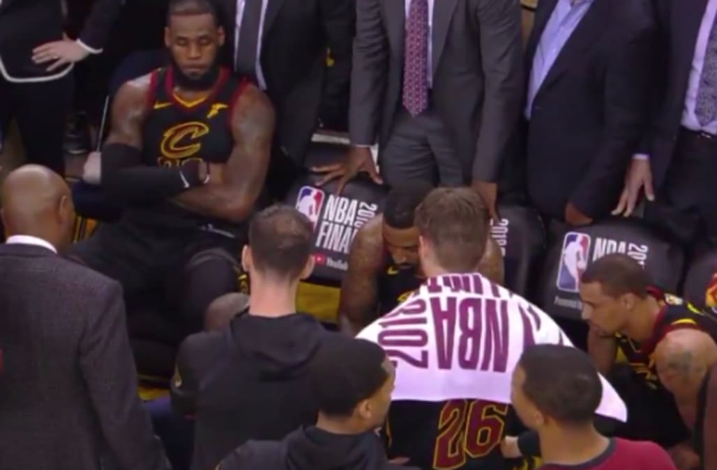 LeBron James was incredulous on the bench after J.R. Smith s Game 1 gaffe  (Video) 8841098ff