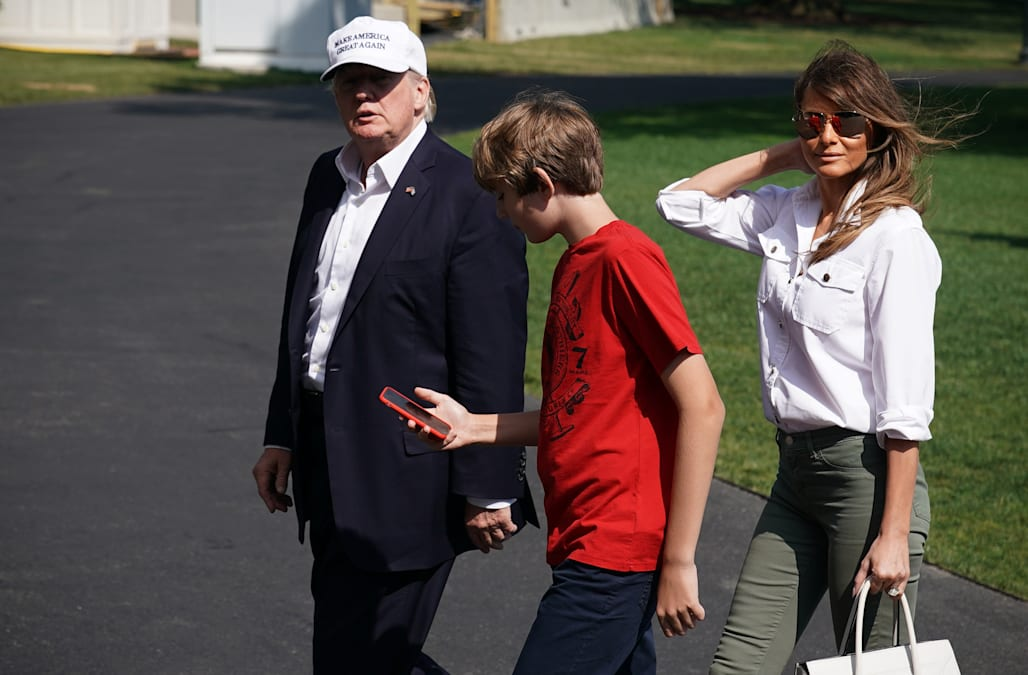 91d6cbace2 Barron Trump s fashion turns heads as first family visits Camp David ...