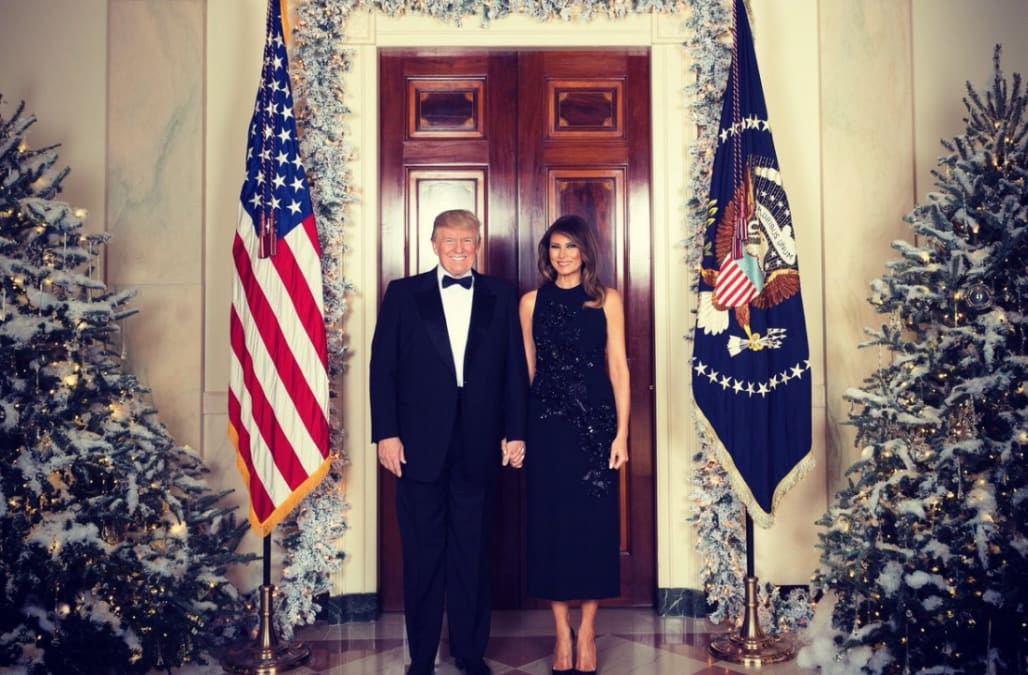 the white house released the trump familys first official christmas portrait on thursday capturing the president and first lady holding hands and