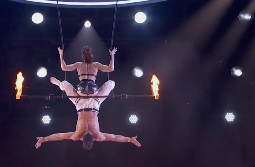 america s got talent husband and wife trapeze stunt gone wrong