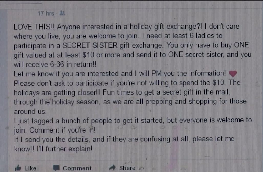 Beware of this holiday gift exchange scam circulating on Facebook ...
