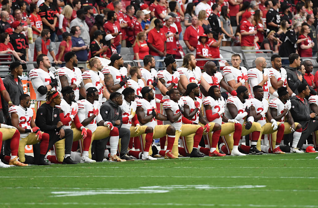 Oct 1 (Reuters)   Several Dozen NFL Players, Fewer Than Last Week, Chose To  Sit Or Kneel During The U.S. National Anthem At The Start Of Games On  Sunday, ...