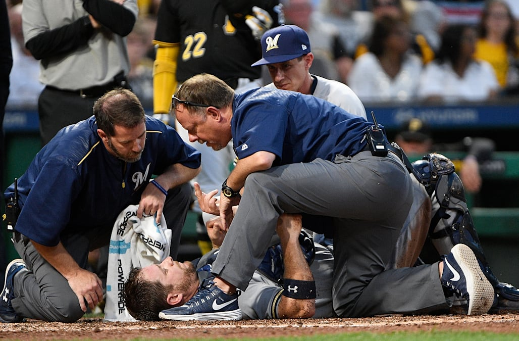 An MLB catcher suffered neck and knee injuries after a brutal, possibly illegal collision mid-gameCatcher - Chad - Major League Baseball - Milwaukee Brewers - Pennsylvania - Pittsburgh Pirates - PNC Park - Stephen Vogt - United States - USA