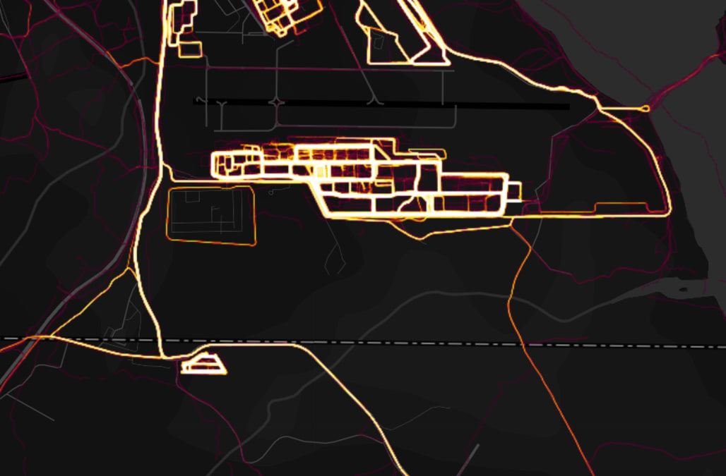 a map of fitness tracker data may have just compromised top secret us military bases around the world