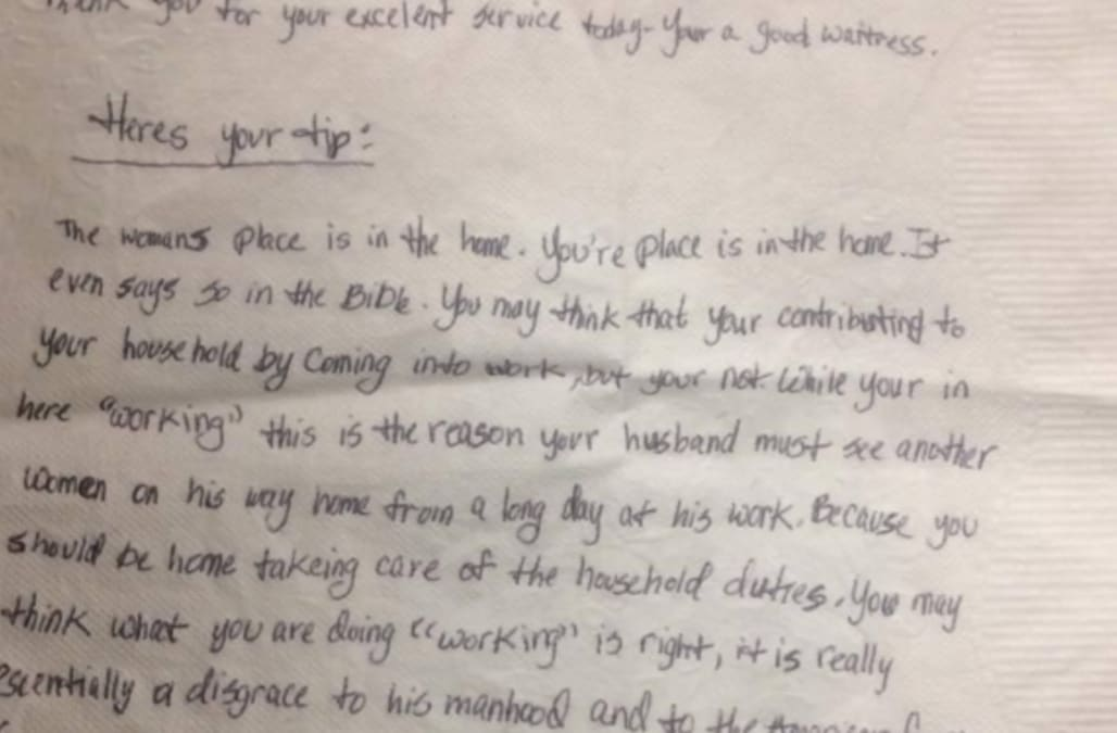 Waitress gets extremely sexist note with her tip - AOL News