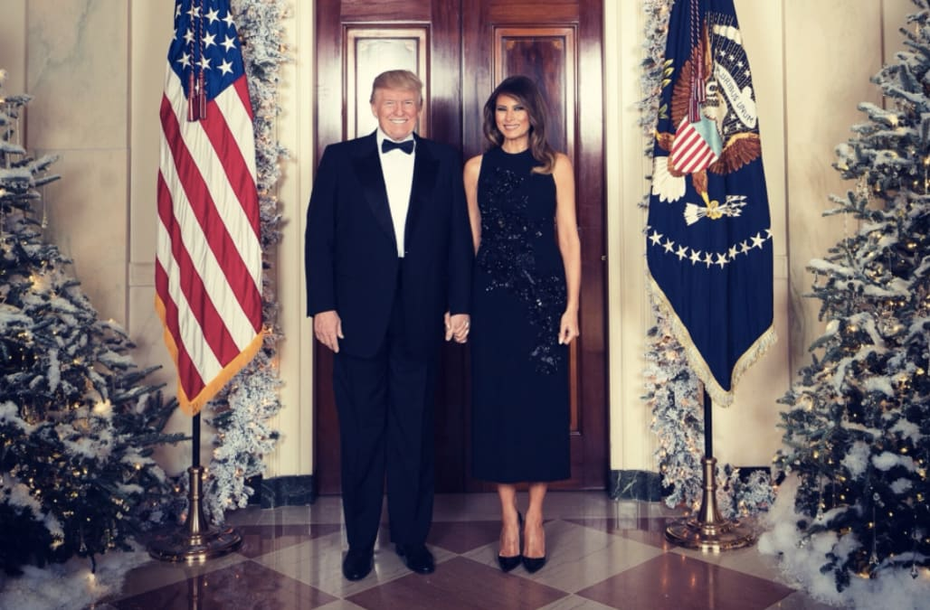 First Lady Melania Trump Dazzles In Sparkling Cocktail Dress For The