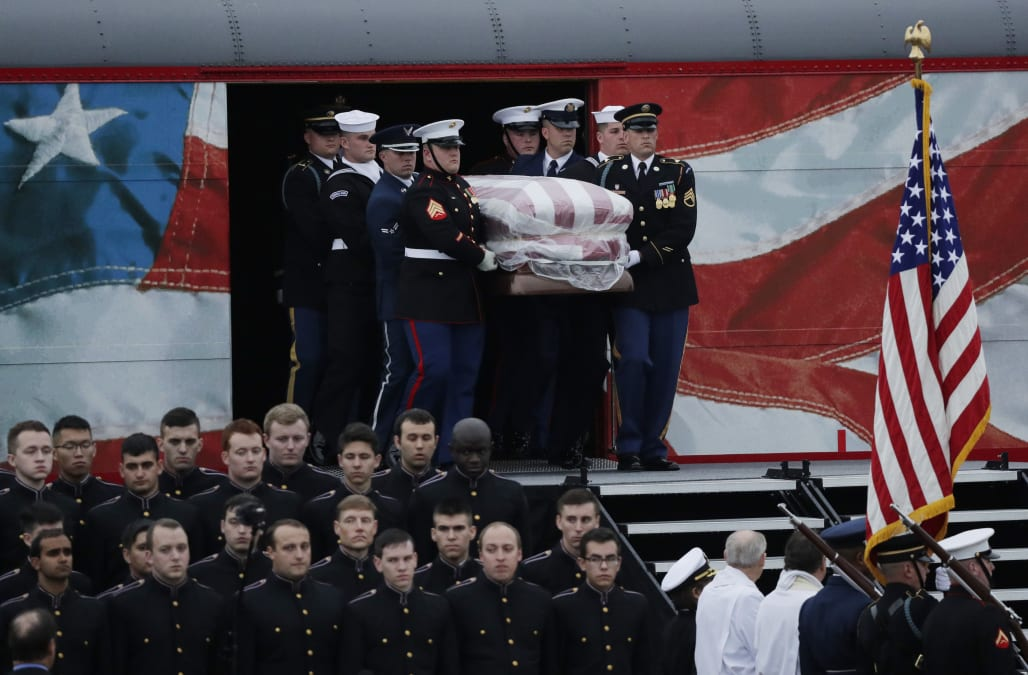 Body Of Former President George H W Bush Brought To Texas Burial