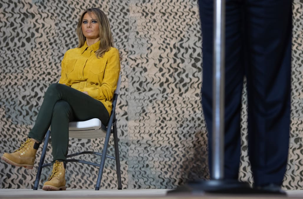 e337270c9f1 Melania Trump gets mocked for wearing Timberland boots while visiting the  troops. Yahoo Style
