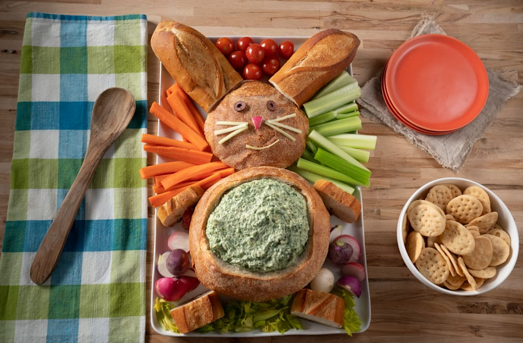 Serve your guests veggies and dip in an Easter bunny bread