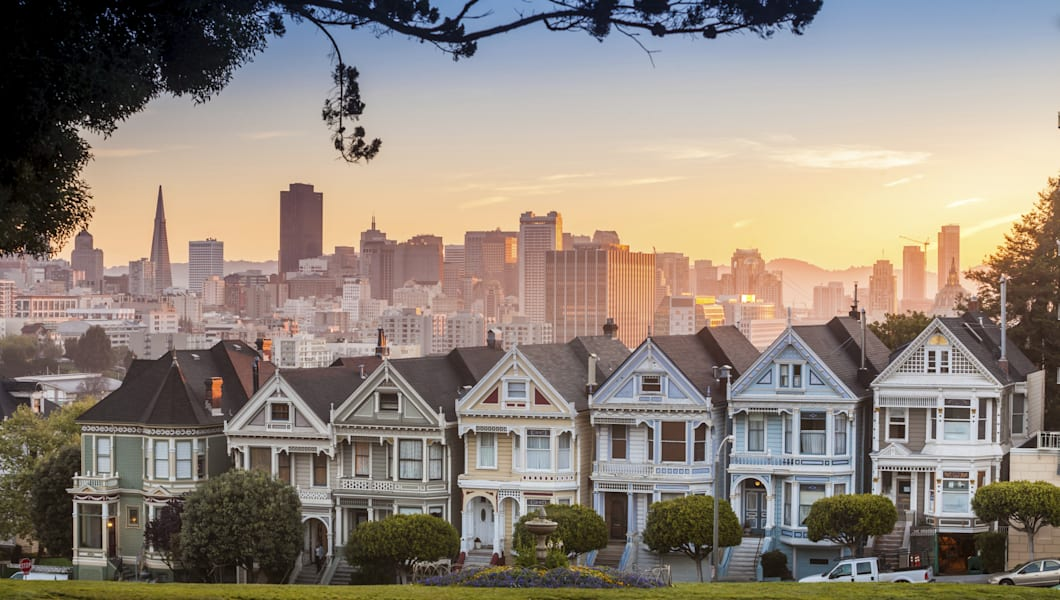 Famous view of San Francisco at Alamo Square CA, USA