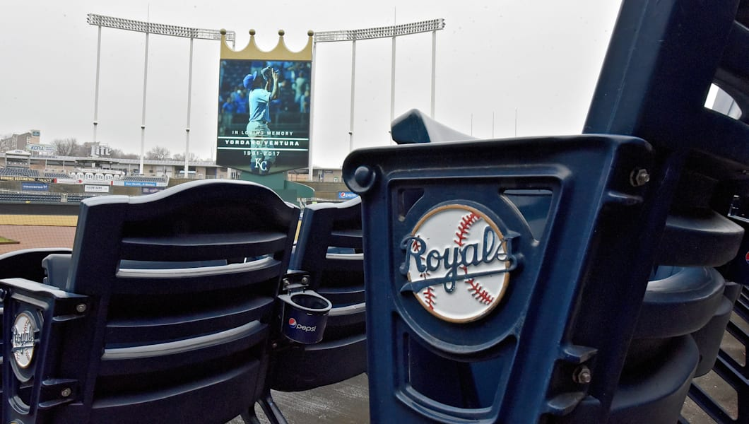 A tribute on Sunday, Jan. 22, 2017 inside Kauffman Stadium in Kansas City, Mo., in memory of Kansas City Royals pitcher Yordano Ventura, who died in a car accident in the Dominican Republic. (John Sleezer/Kansas City Star/TNS via Getty Images)