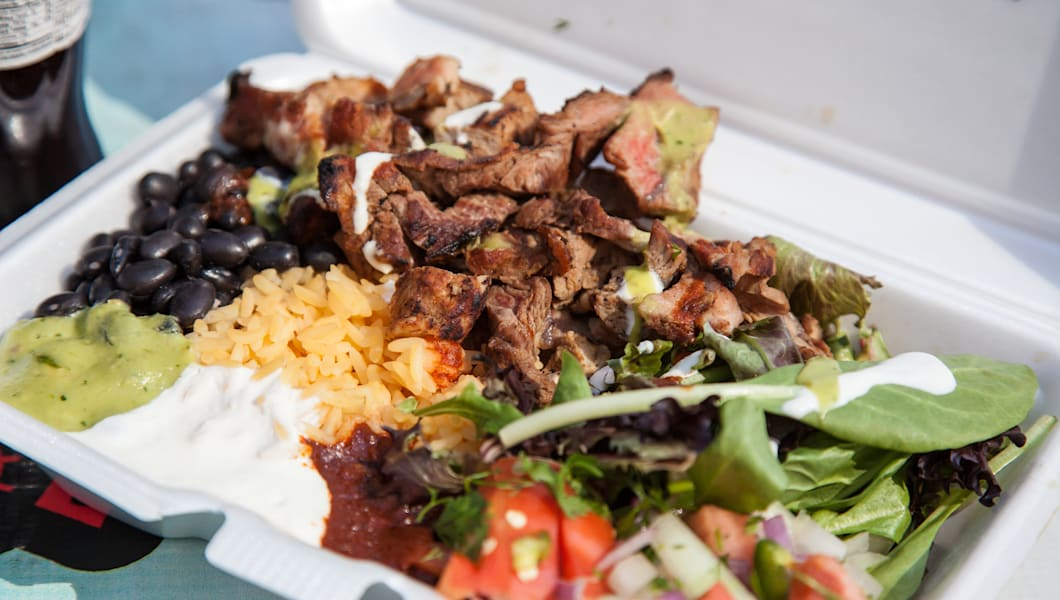 Typical dish out of a food truck in New York City