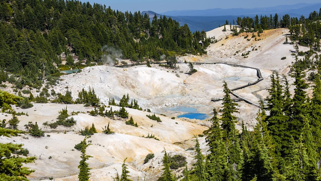 Bumpass Hell is the largest hydrothermal site in Mt. Lassen park. It's the main area of upflow of steam and discharge from the Lassen hydrothermal system. Mount Lassen is an active California Volcano.