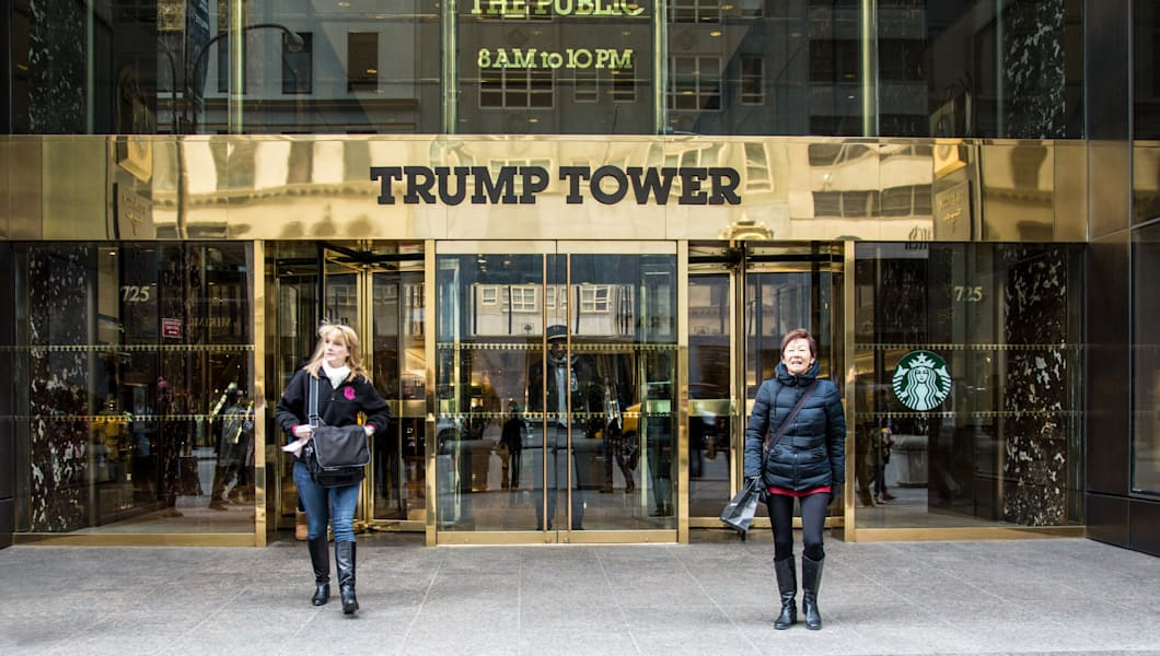 NEW YORK CITY, NY  - MARCH 14, 2014:  Entrance at landmark Trump Tower on Fifth Avenue in midtown Manhattan.  Developed by Donald Trump this tower opened in 1983.