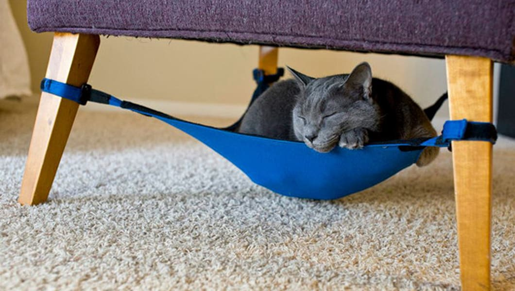 """Cat Crib, A Hammock For Cats That Fits Inconspicuously Under a Chair outdoor wicker is a favorite of ours! So is this find by tiphaine. via <a href=""""http://blog.wickerparadise.com/post/47852103522/cat-crib-a-hammock-for-cats-that-fits"""" rel=""""nofollow"""">blog.wickerparadise.com/post/47852103522/cat-crib-a-hammo...</a>"""