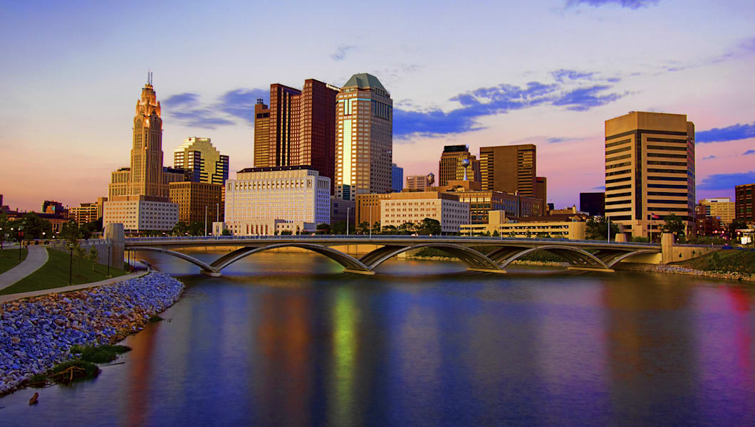 High Dynamic Range HDR Photo of Downtown Columbus Ohio. Bridge across the Scioto River, Scioto Mile and Boardwalk Scenic Viewpoint. Reflection in River