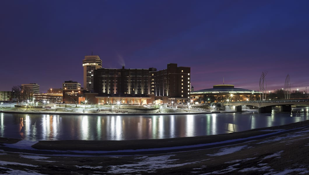 Wichita skyline during winter morning. Wichita, Kansas, USA