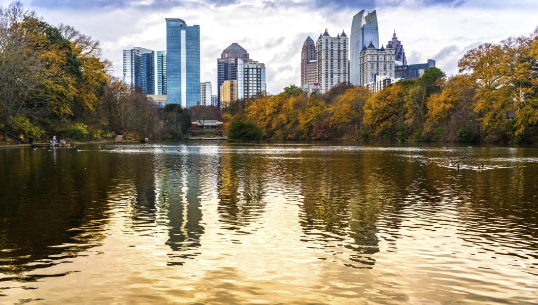 View of Atlanta Midtown from Piedmont Park, Georgia, USA.