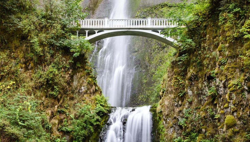 Bridge across  Multnomah Falls, Columbia River Gorge, Oregon