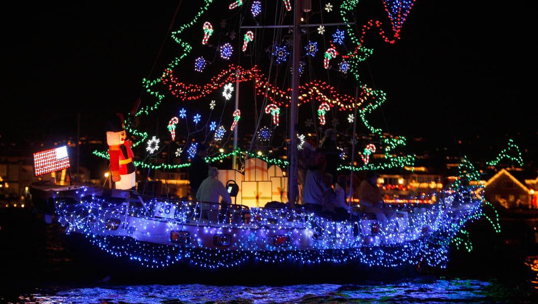 NEWPORT BEACH, CA - DECEMBER 16: Boats in the 101st annual Newport Beach Christmas