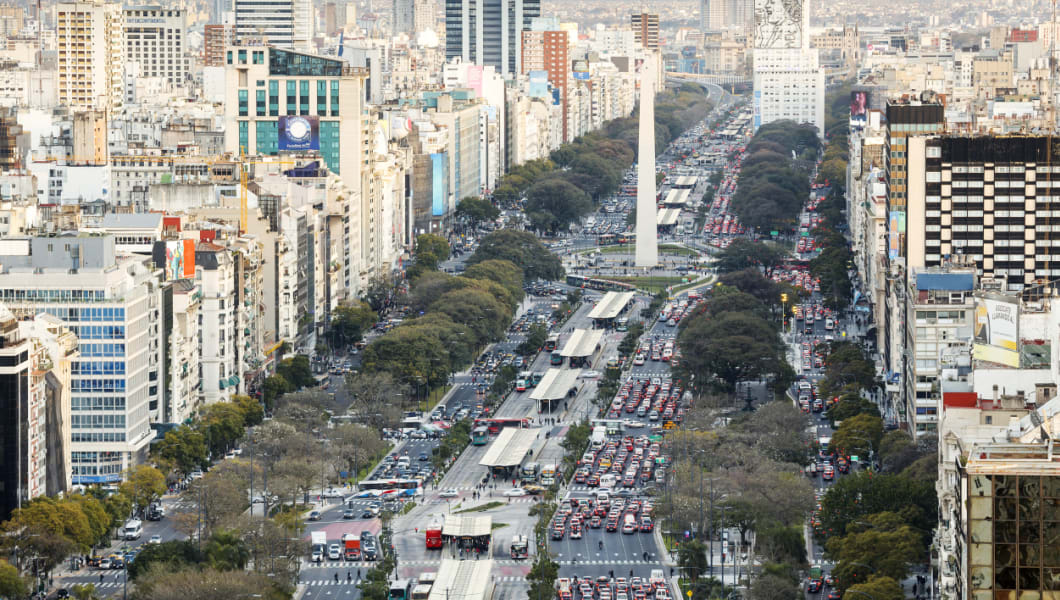 Aerial view of the Obelisco and 9 de Julio Avenue at rush hour Buenos Aires city downtown, Argentina
