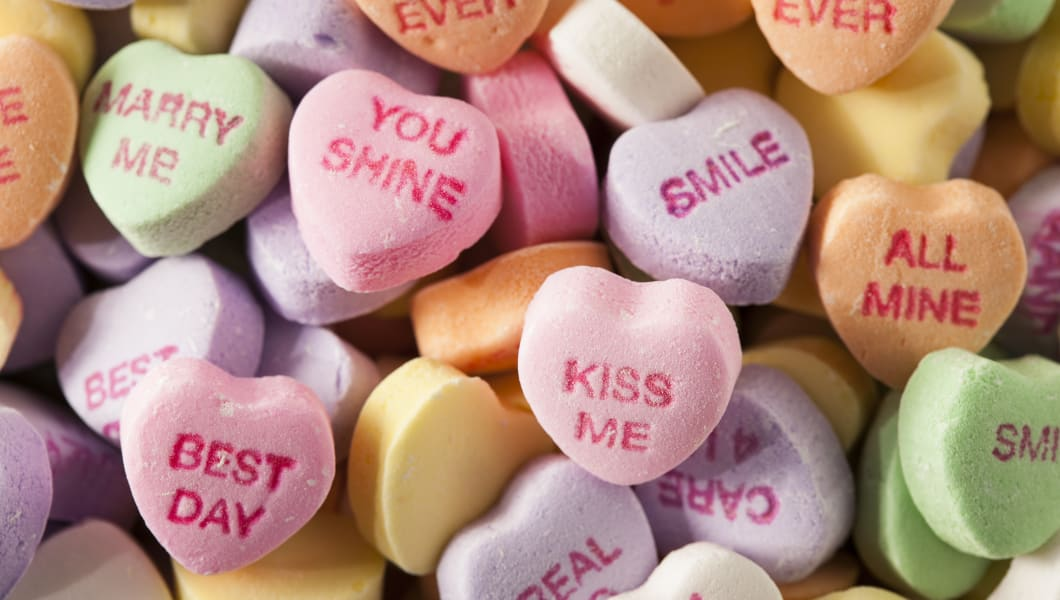 Colorful Candy Sugar Hearts for Valentine's Day