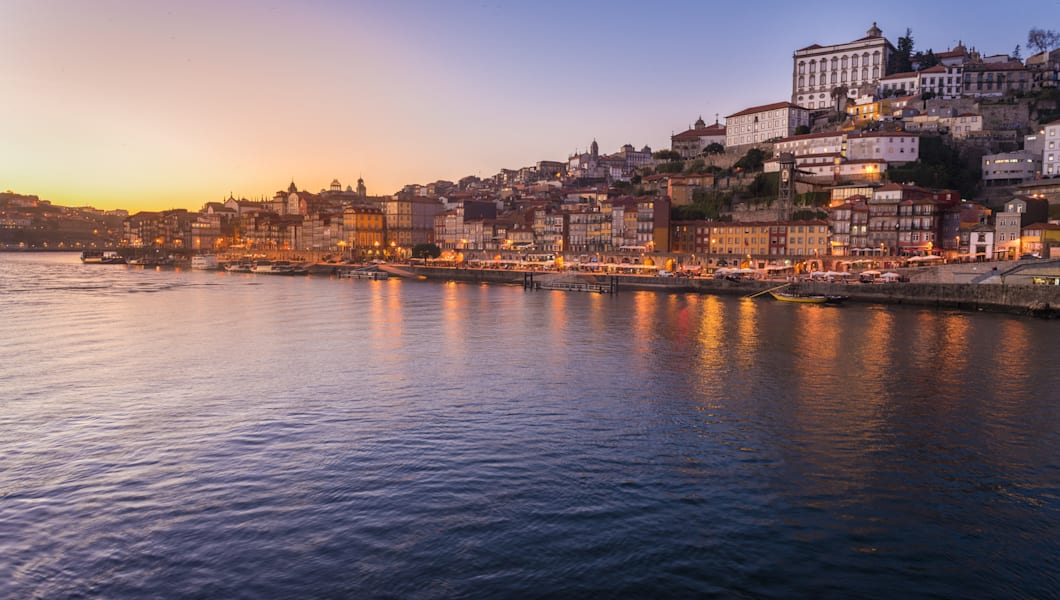 View of Oporto, Portugal, from the bridge of Dom Luiz I, with houses of Ribeira and  Cathedral