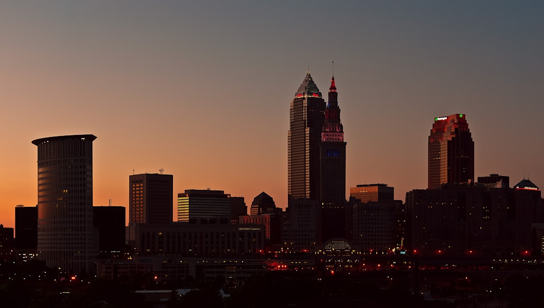Cleveland Skyline silhouette against the evening sky from the Hope Memorial Bridge. Stitched panorama.