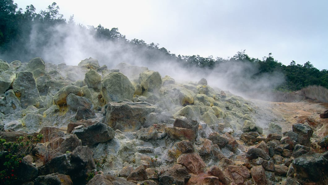 Steaming Rockpile. Sulfur Banks, Hawaii Volcanoes National Park, Hawaii