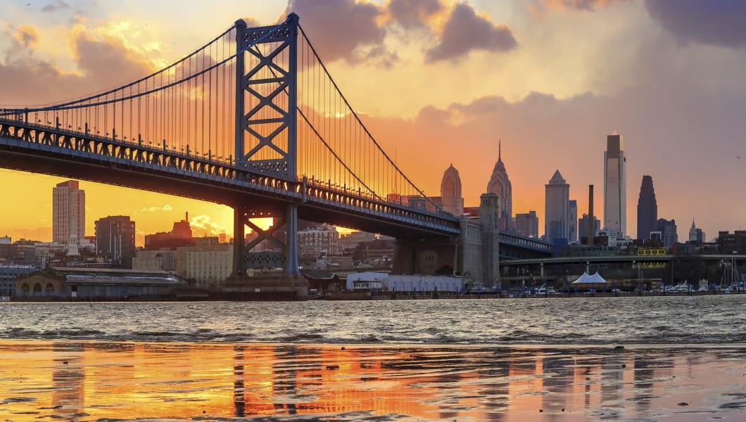Panorama of Philadelphia skyline, Ben Franklin Bridge and Penn's Landing sunset