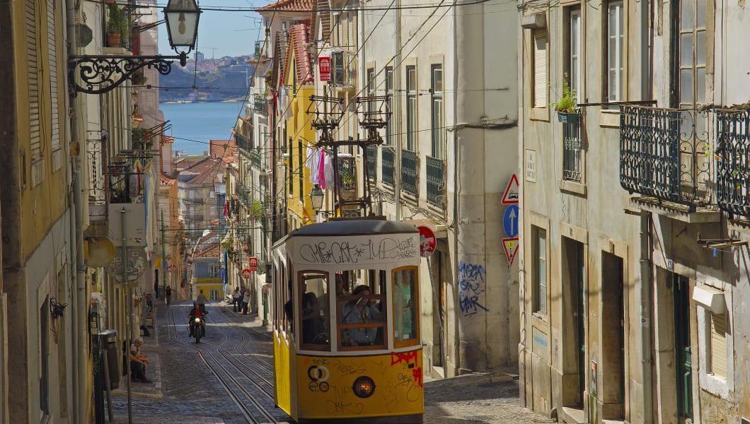 Lisbon, Elevator da Bica, Bica cable car, Bairro Alto, Rua da Bica de Duarte Belo, Portugal, Europe. (Photo by: Education Images/UIG via Getty Images)