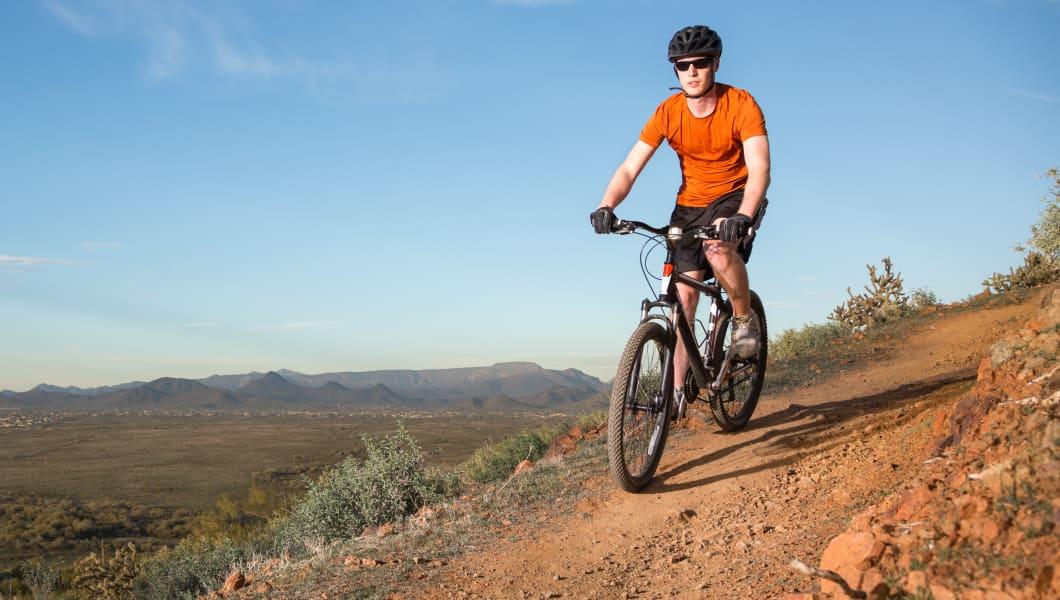 mountain bikers riding along a trail