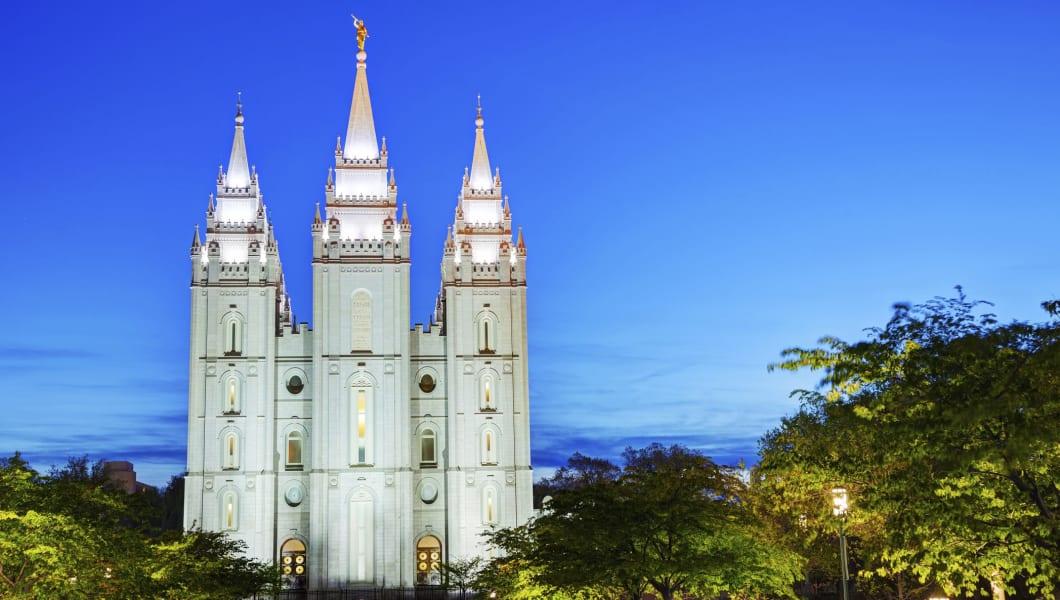 Mormonsu0027 Temple In Salt Lake City, UT In The Night