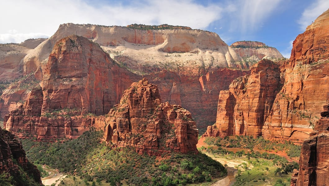 Wide angle view of Zion Canyon, with the virgin river, Zion National Park, Utah, USA