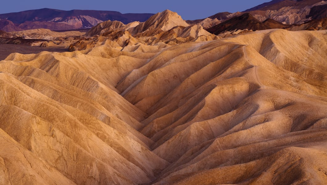 Twilight over Zabriskie Point, Death Valley National Park, California.