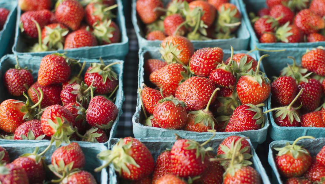 Crates of strawberries