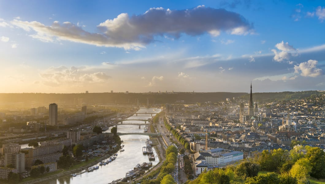 France, Seine Maritime, Rouen, city center and Notre Dame Cathedral from Cote Sainte Catherine hill