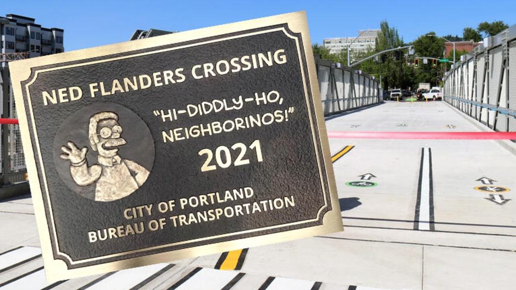 Portland weiht die neue Brücke Ned Flanders Crossing ein. Ja, dieser Ned Flanders.€