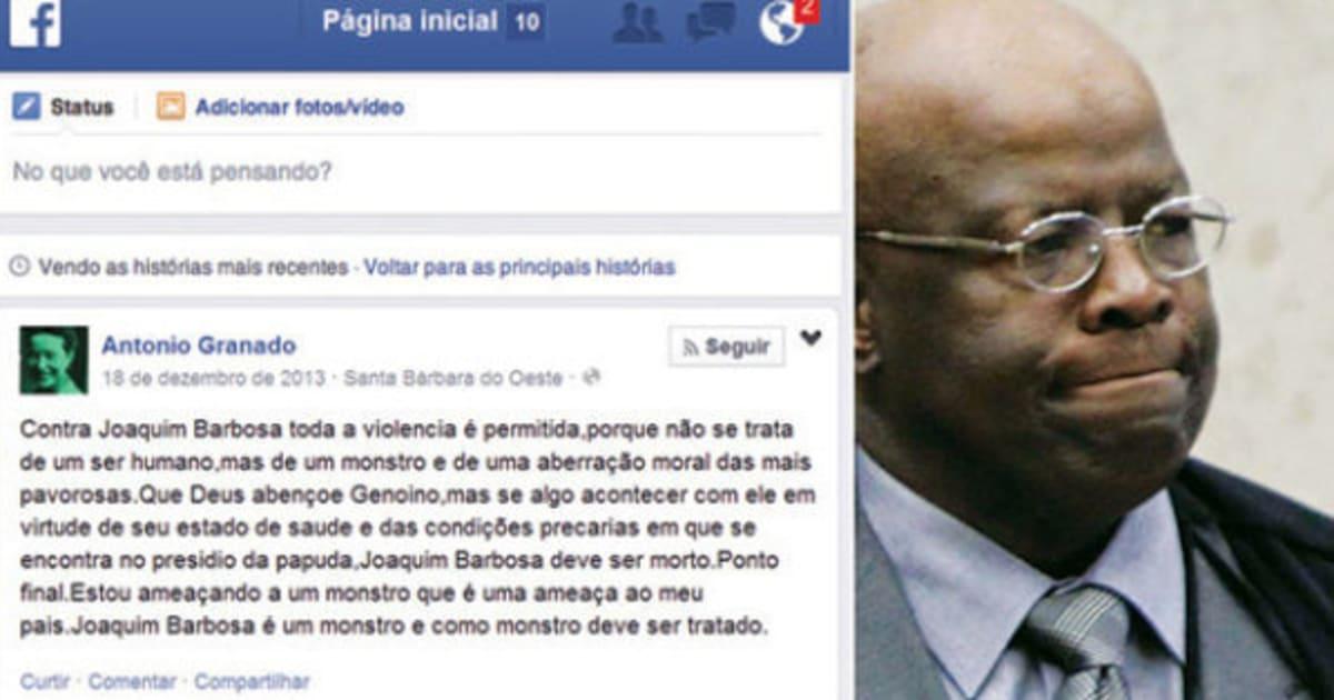 Polícia Federal investiga mensagens com ameaças de morte a Joaquim Barbosa no Facebook