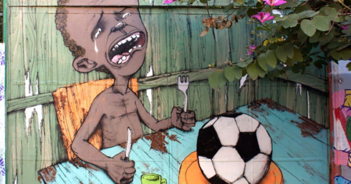 Artista brasileiro ironiza a Copa do Mundo em grafite e repercute internacionalmente (FOTO)