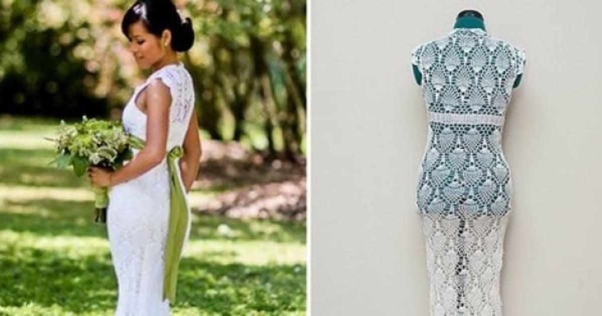 El vestido de novia más barato: se lo hizo de ganchillo mientras iba ...