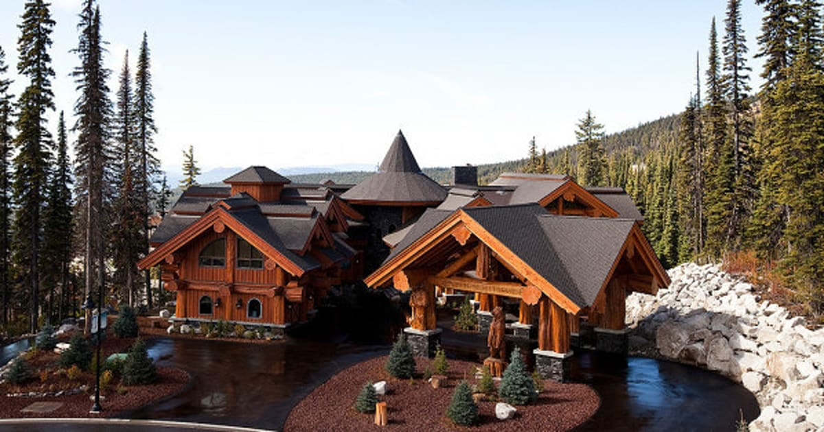 Big White Luxury Log Castle Crafted From Centuries Old