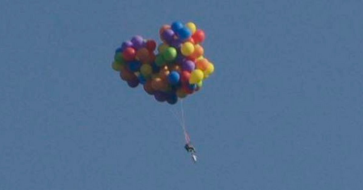 Man Seen Flying Over Calgary Stampede In Helium Balloon Chair