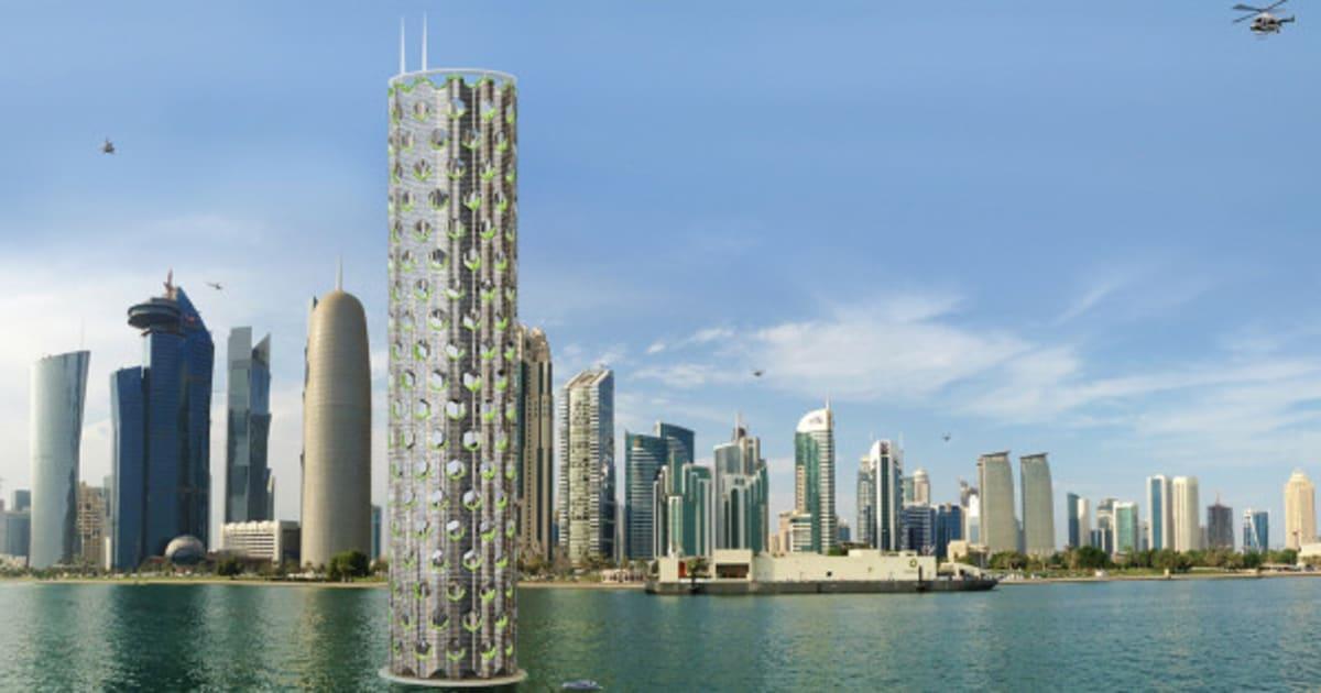 Une ville verticale du futur imagin e par un cabinet d for Piscine entre 2 immeubles