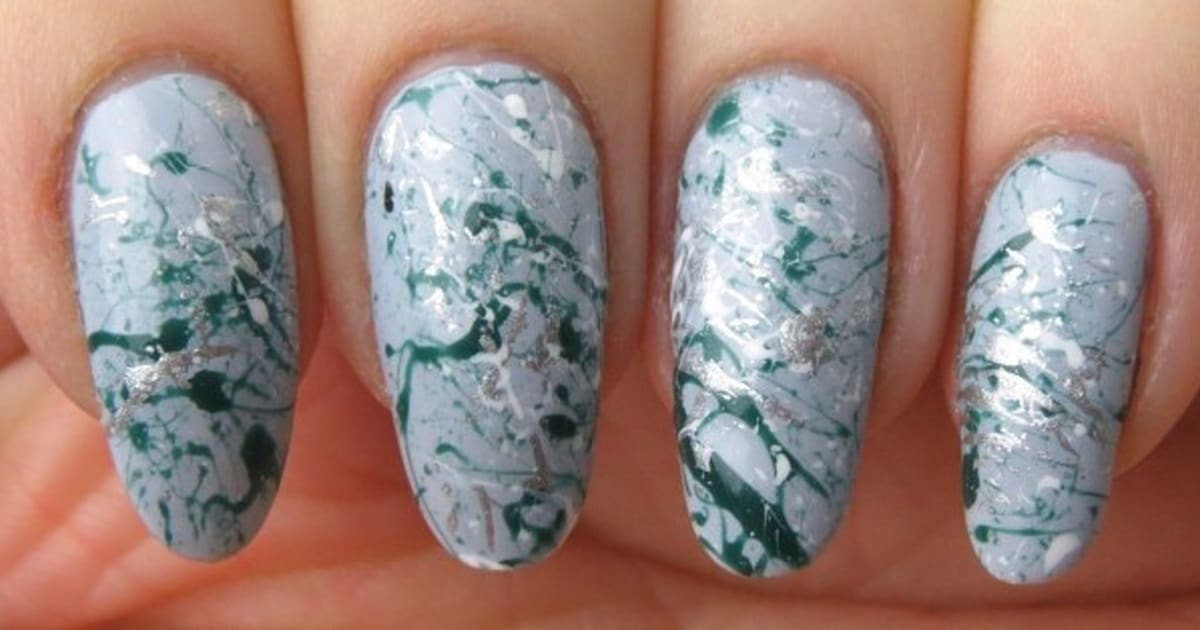 Spring nail art create a paint splatter design using a bobby pin prinsesfo Image collections