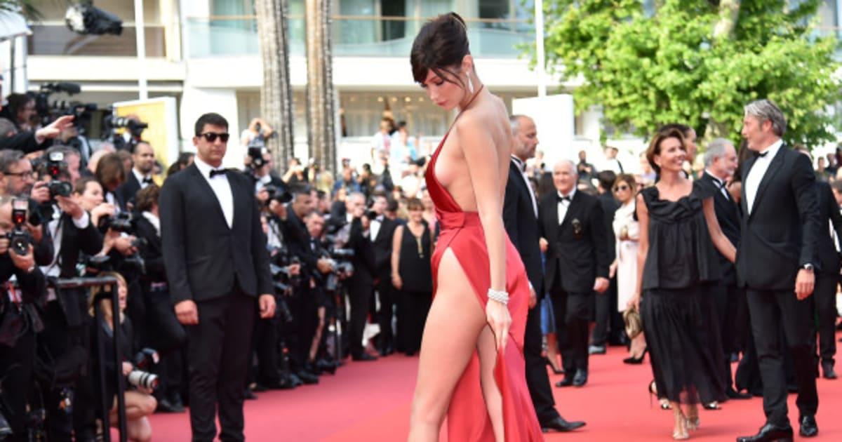 photos  bella hadid presque nue malgr u00e9 sa robe sur le tapis rouge du festival de cannes
